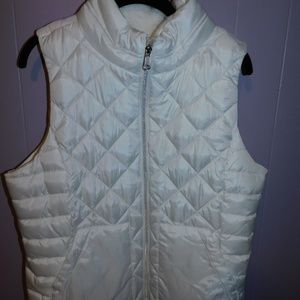 White Puff Vest with Faux Fur Inside